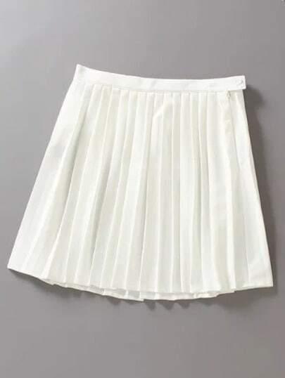 white high waist oblique zipper pleated skirt shein