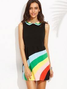 Multicolor Lapel Sleeveless Zipper Back Dress