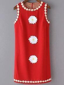 Red Sleeveless Embroidery Zipper Back Dress