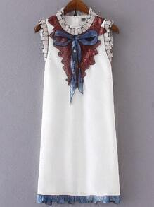 White Sleeveless Bow Embroidery Paillette Dress