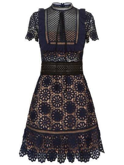 Navy Tie Neck Crochet Hollow Out Dress
