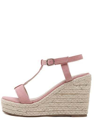 Pink Peep Toe T-shaped Buckle Strap Wedges
