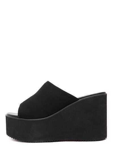 Peep-Toe Faux Suede Mule Wedges