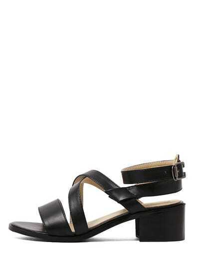 Black Peep Toe Crisscross Strap Chunky Sandals