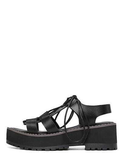Black Peep Toe Lace-up Platform Wedges