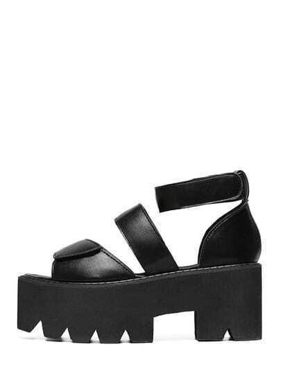 Black Peep Toe Cutout Velcro Platform Wedges