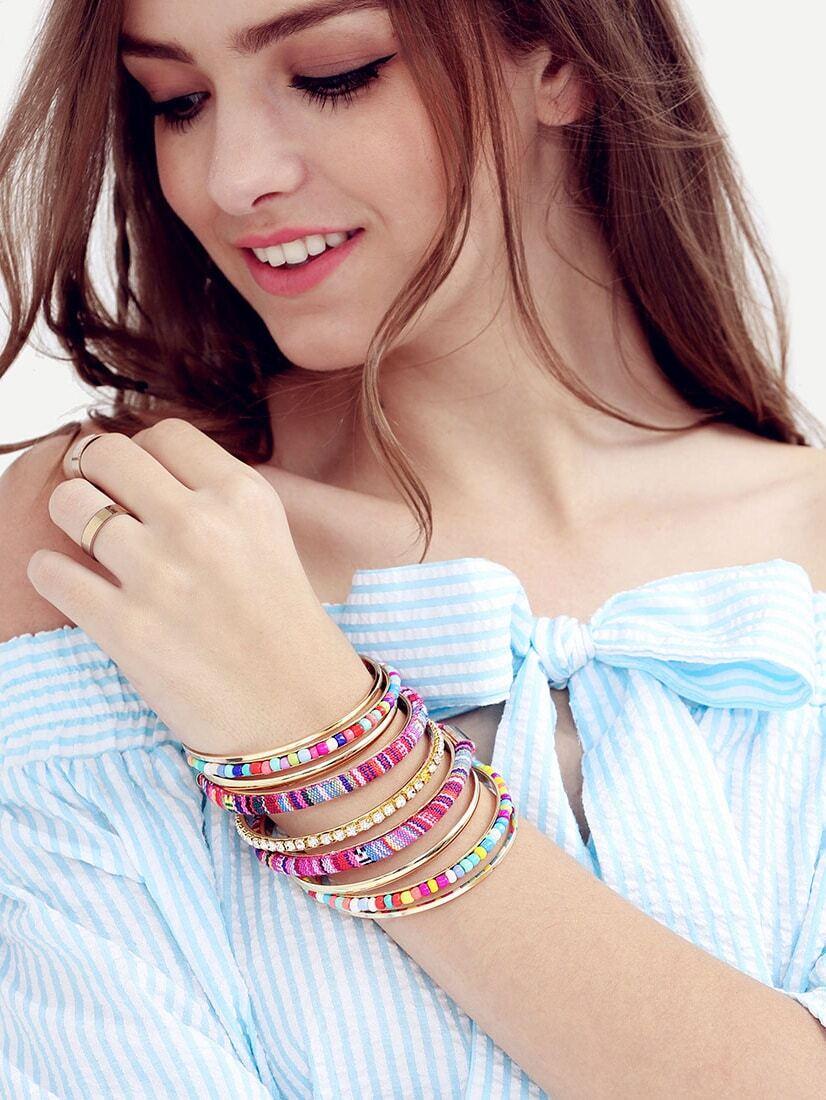 Colorful Multilayer Beaded Crochet Bracelet plain beaded bracelet