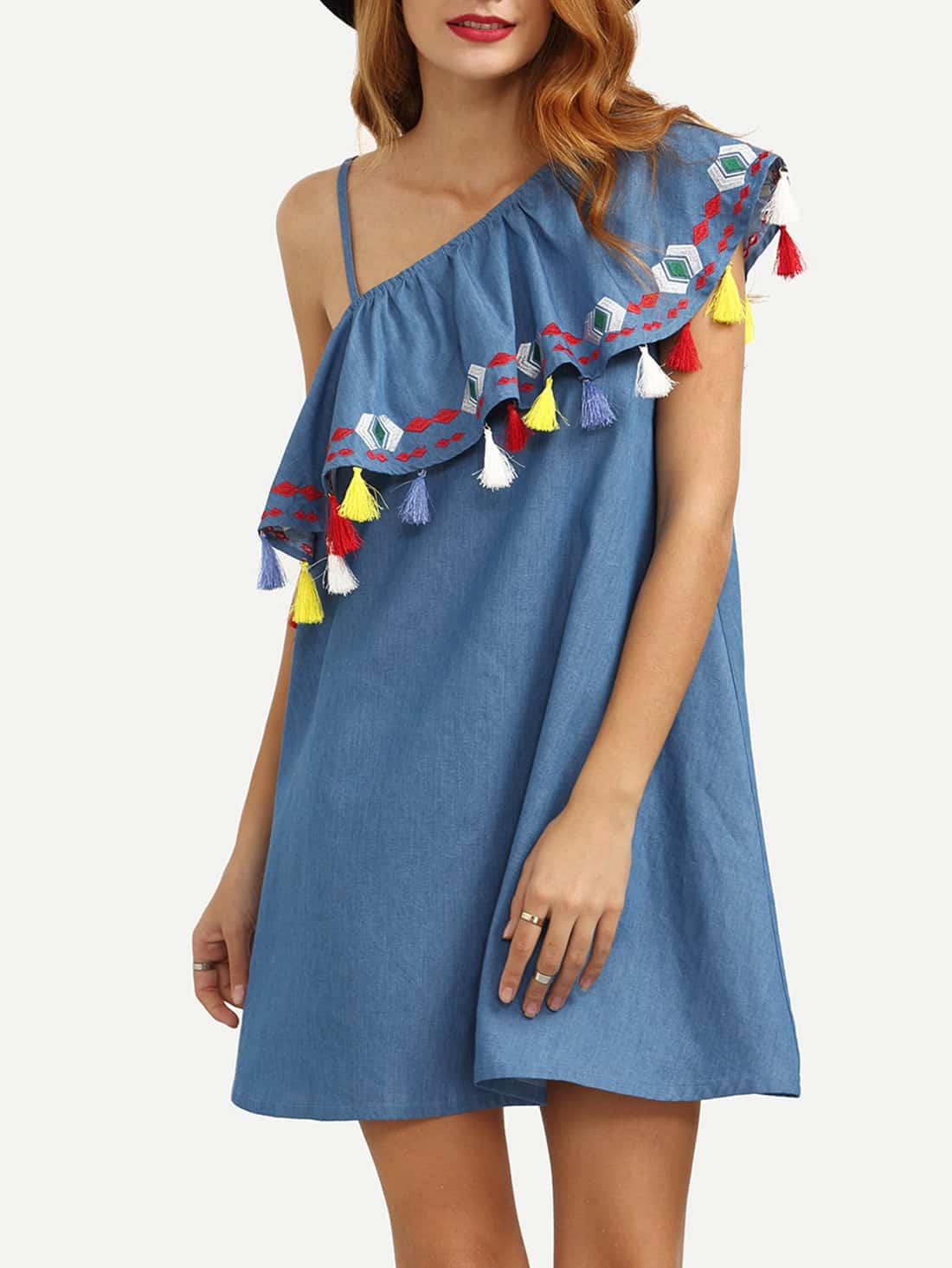 Blue One Shoulder Ruffle Tassel Embroidered DressBlue One Shoulder Ruffle Tassel Embroidered Dress<br><br>color: Blue<br>size: L,M,S,XS