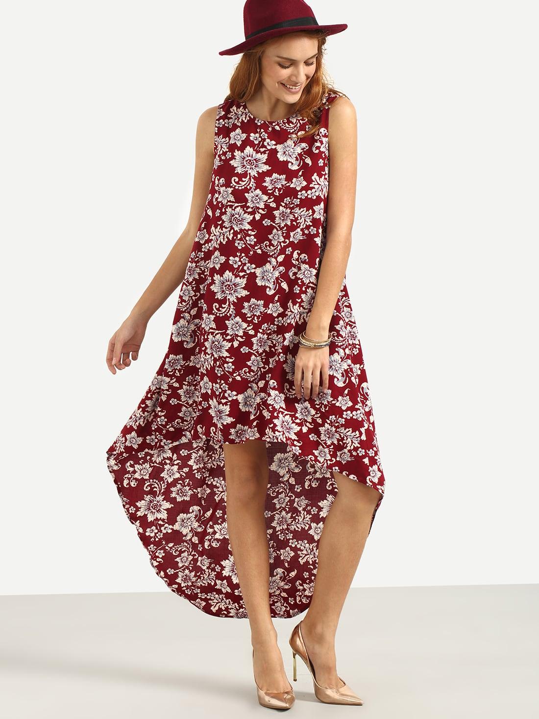 multicolor floral sleeveless high low dress sheinsheinside