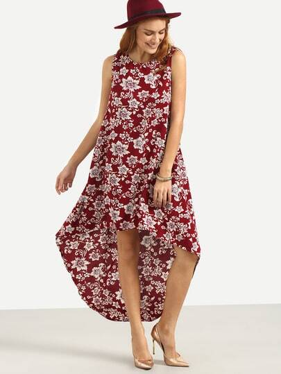 Multicolor Floral Sleeveless High Low Dress