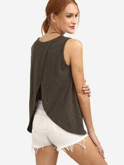Army Green Sleeveless Split Back T-shirt