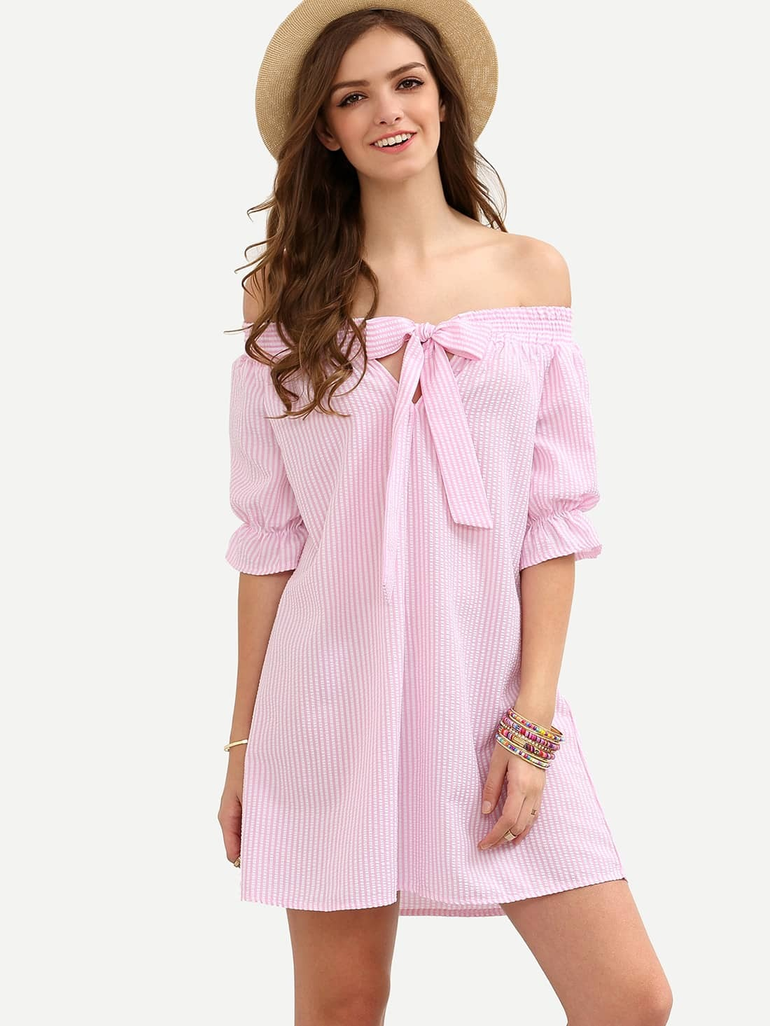 Pink Striped Bow Off The Shoulder Shift Dress dress160602528