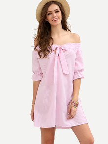 Pink Striped Bow Off The Shoulder Shift Dress