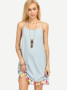 Blue Spaghetti Strap Tassel Shift Dress