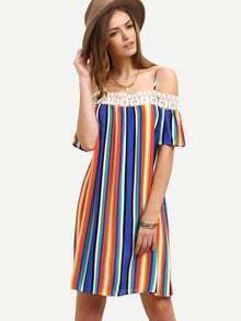 Multicolor Striped Off The Shoulder Shift Dress