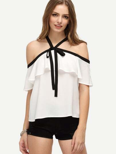 Contrast Trim Tie Front Frill Blouse