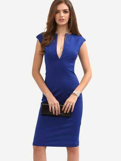Blue Cap Sleeve Zipper Split Front Sheath Dress