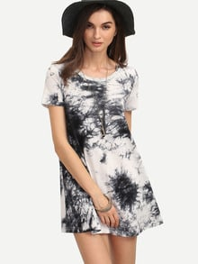 Multicolor Ikat Print Short Sleeve Shift Dress