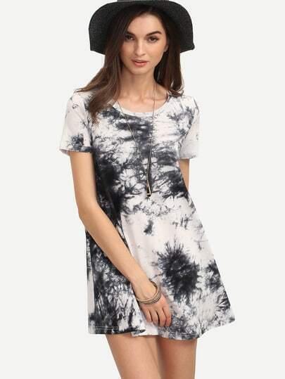 Multicolor Ikat Print Short Sleeve Shift Dress