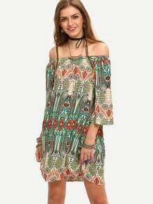 Multicolor Print Vintage Off The Shoulder Shift Dress