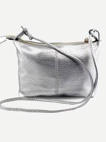 Faux Leather Top Zip Crossbody Bag - Silver