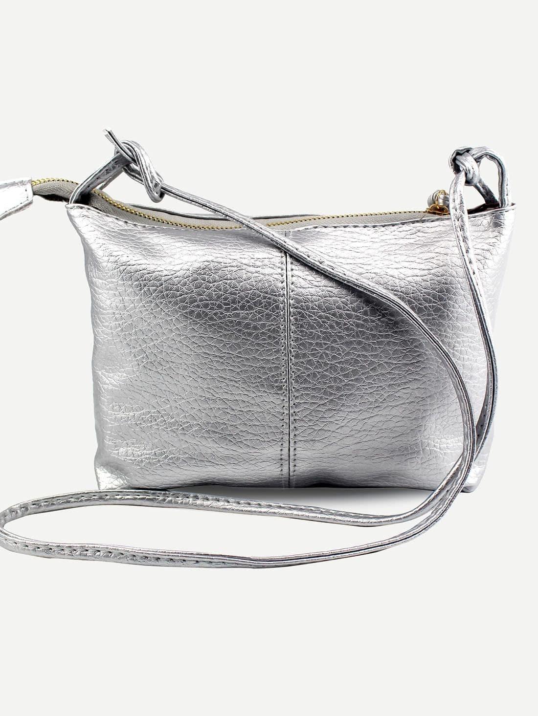 Фото Faux Leather Top Zip Crossbody Bag - Silver. Купить с доставкой