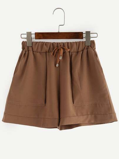 Drawstring Waist Wide Leg Shorts - Brown