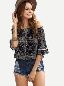 Off-The-Shoulder Tribal Print Top - Navy