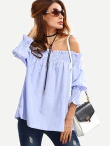 Shirred Off-The-Shoulder Vertical Striped Blouse - Blue