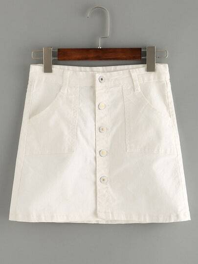 Buttoned Front White Denim Skirt