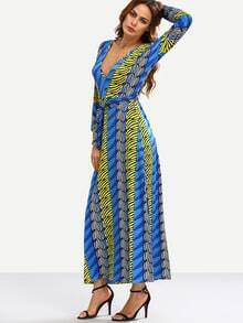 Deep V-Neck Self-Tie Multicolor Printed Long Dress