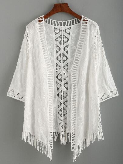 White Crochet Hollow Out Fringe Lace Up Cardigan