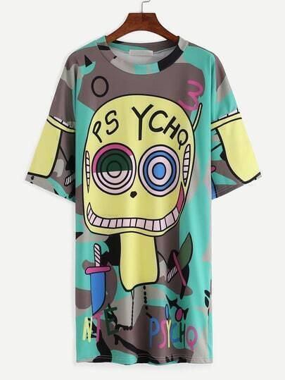 Abstract Cartoon Print Shift T-shirt Dress