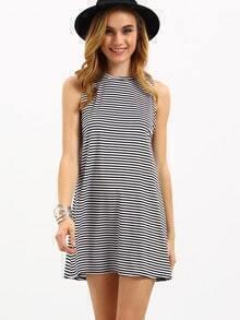 Black White Striped Shift Tank Dress