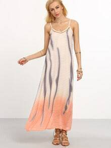 Orange Ombre Printed Long Cami Dress