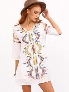Tribal Print Tunic Dress - White