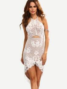 Cutout Asymmetric Lace Bodycon Dress - White