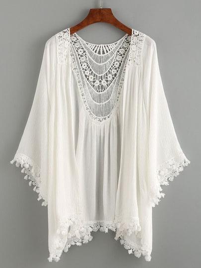 Lace Trimmed Crochet Insert Kimono