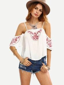 Cold Shoulder Embroidered Top - White