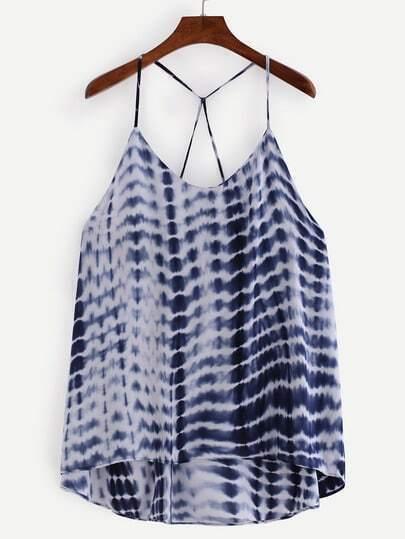 Strappy Tie Dye Print Cami Top - Blue