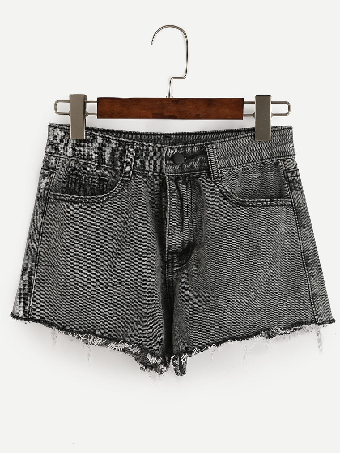 raw hem grey denim shorts sheinsheinside