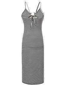 Black and White Spaghetti Strap Backless Dress