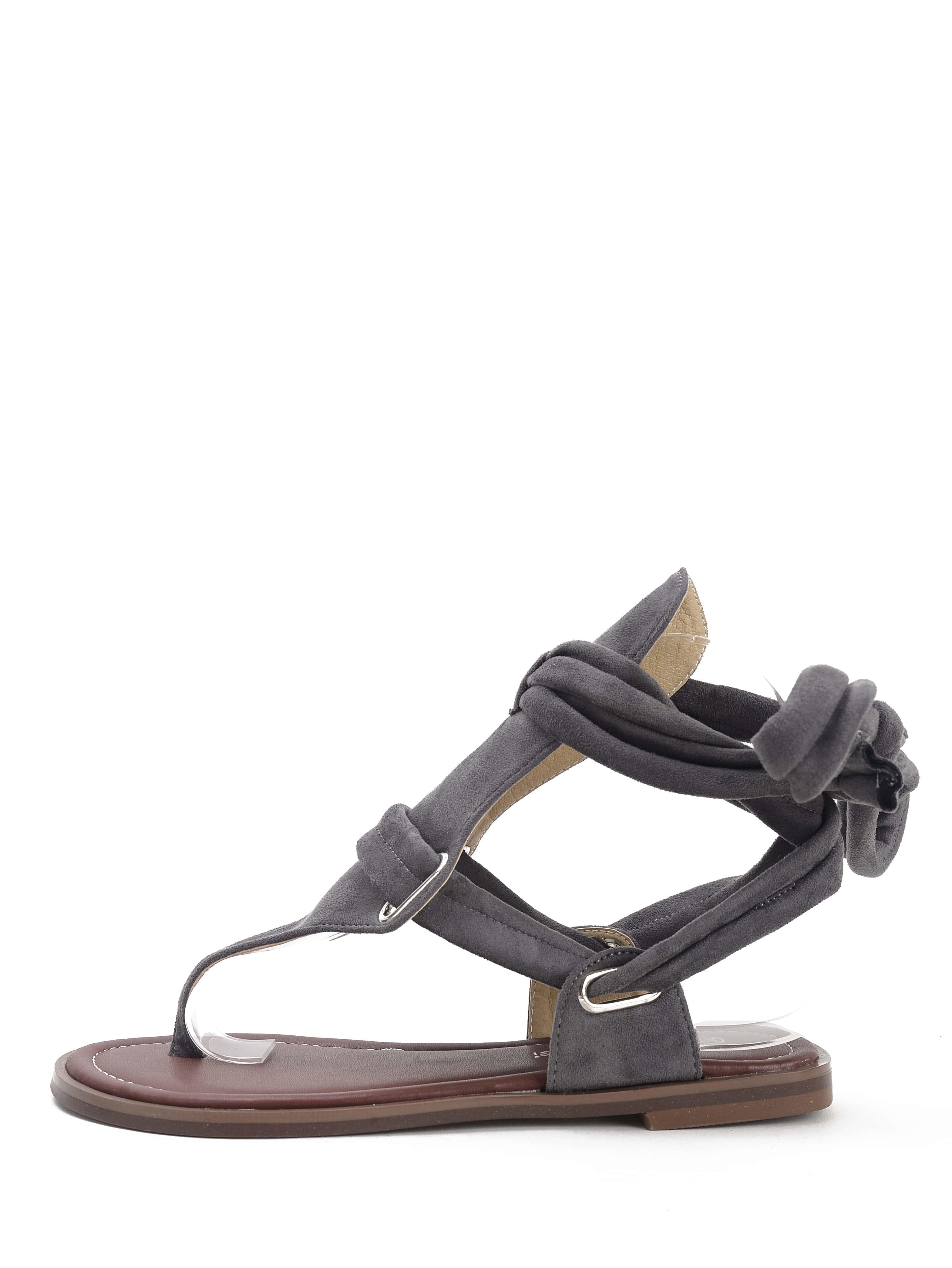 zehensteg sandalen flach aus faux suede mit schn rung. Black Bedroom Furniture Sets. Home Design Ideas