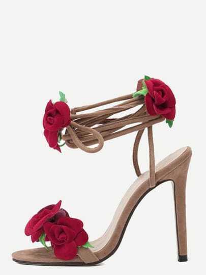 Multicolor Peep Toe Flower Stiletto Sandals