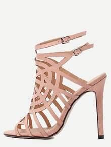Apricot Peep Toe Hollow Buckle Strap Stiletto Heels