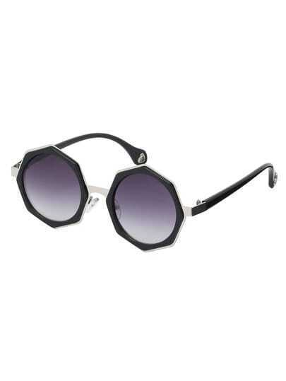 Silver Frame Black Lenses Polygon Sunglasses