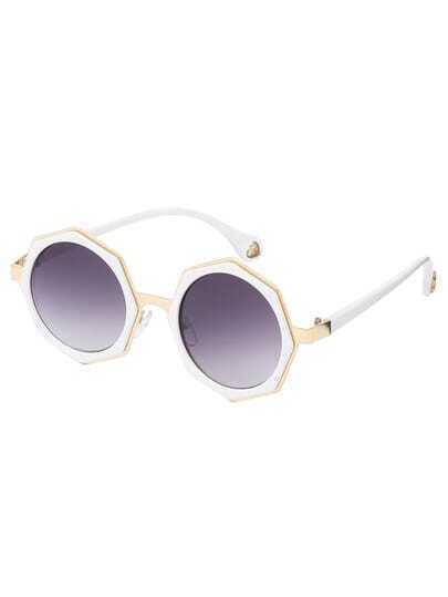 White Frame Grey Lenses Polygon Sunglasses