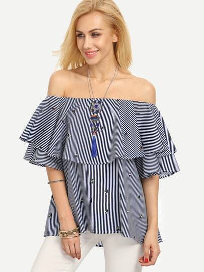 Flounce Layered Neckline Pinstriped Top
