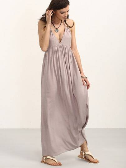 Apricot V Neck Backless Dress