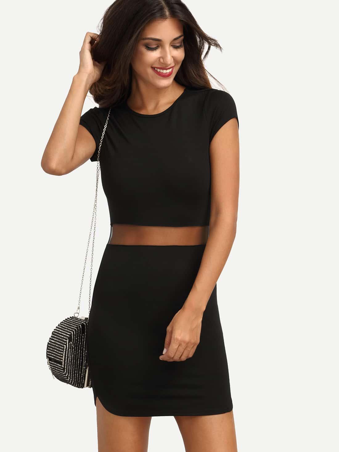 Mesh Insert Split Side Bodycon Dress sequin mesh insert bodycon club dress
